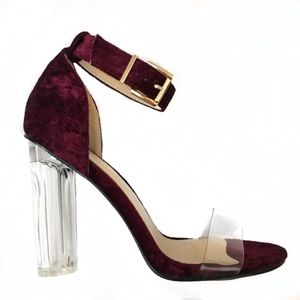 Velvet and Clear Heels Size 9